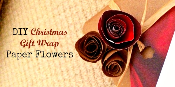 DIY Christmas Gift Wrap Paper Flowers
