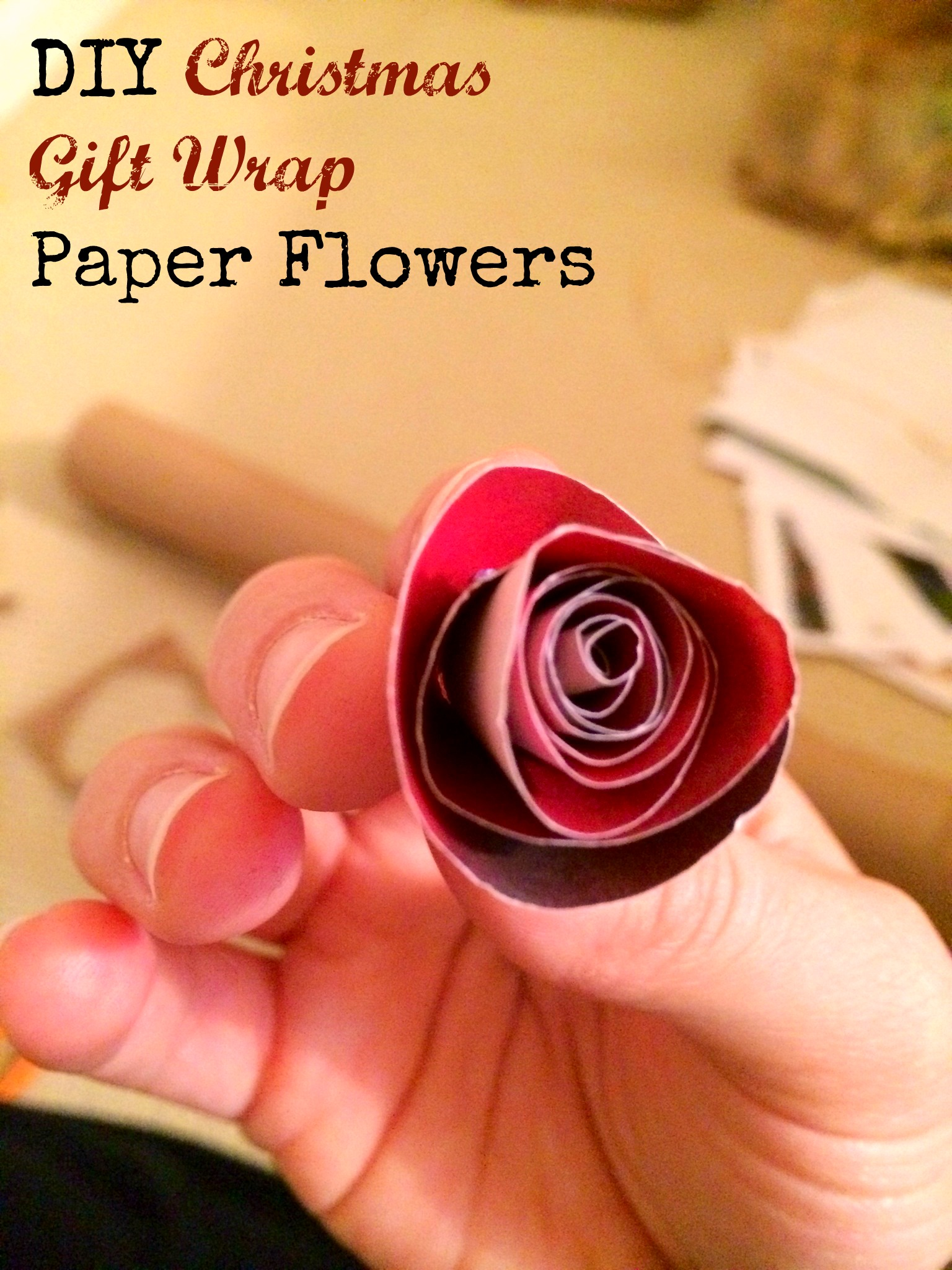 Diy christmas gift wrap paper flowers mba sahm these diy paper flowers are made out of wrapping paper and are so cute and easy mightylinksfo