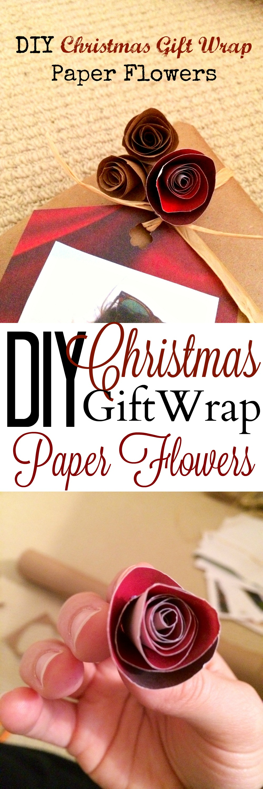 These DIY paper flowers are made out of wrapping paper and are so cute and easy! It's a great way to spruce up your wrapping without spending more!