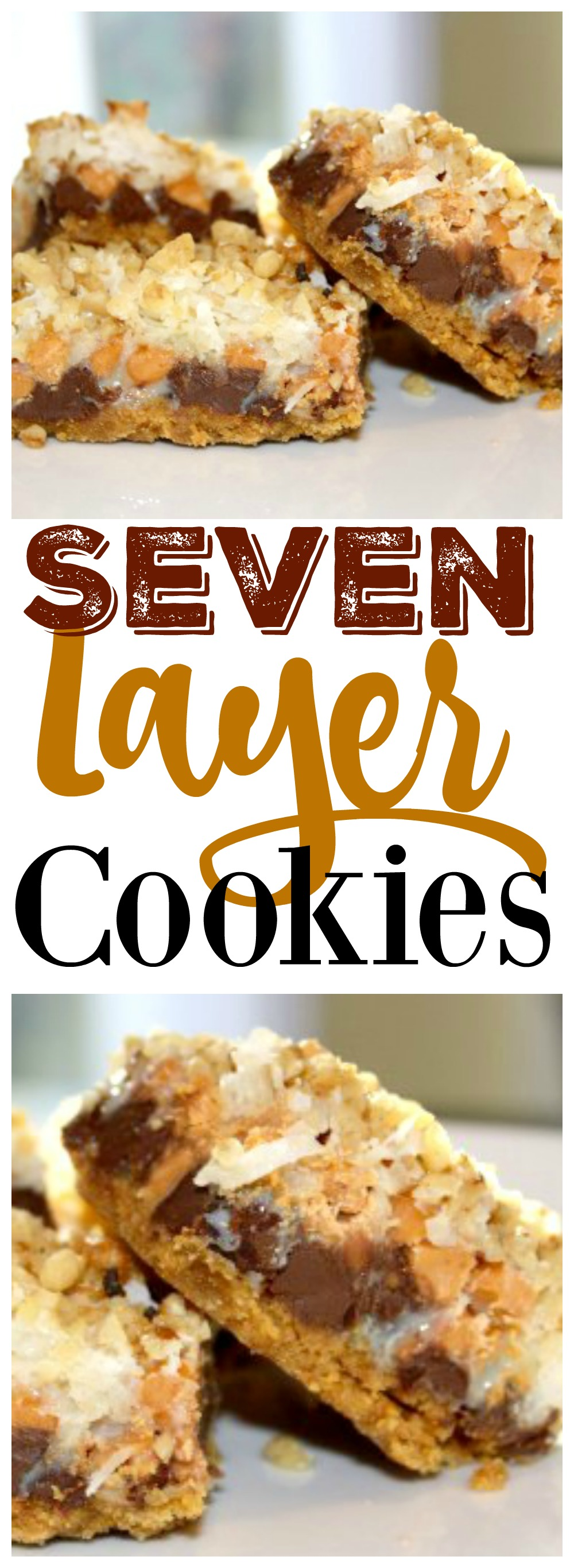 These seven layer cookies are my all-time favorite Christmas cookie recipe!  Thy're so easy to make and a huge crowd pleaser.  Enjoy!
