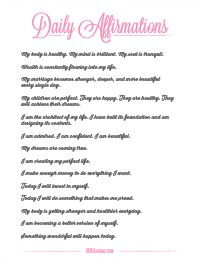 A great printable list of daily affirmations