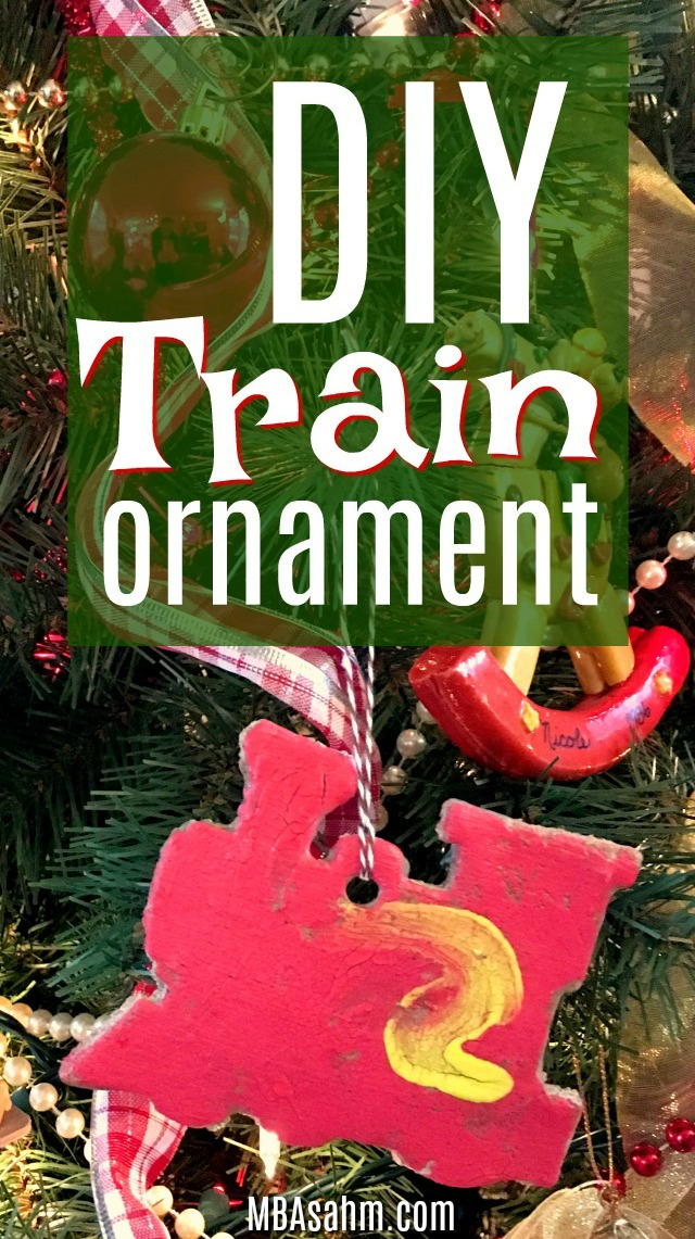 These DIY train Christmas ornaments were so easy and fun to make with my preschooler! We used a simple salt dough recipe and then decorated them however my son wanted. They were a perfect gift for the grandparents!