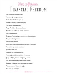 This daily affirmations free printable will help you to become financially free!