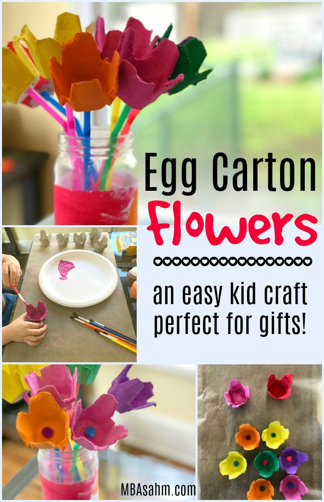 These egg carton flowers are such a fun and easy kid craft! They are a perfect DIY gift idea for grandpareants, teachers, and parents. Perfect for Mother's Day as well!