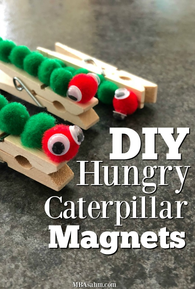 These hungry caterpillar magnets were such a fun and easy kid craft! Your child will be able to complete the whole thing themselves and they'll make the best gifts for grandparents, aunts, and uncles!