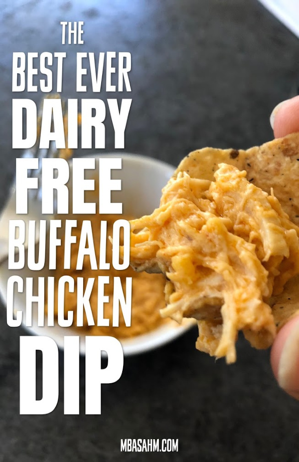 This dairy free buffalo chicken dip is one of the best non-dairy recipes I've come across!  It's a perfect dairy free appetizer, especially as a dairy free game day appetizer and it uses all nut cheeses (no soy!).